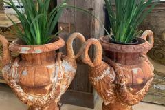 Regency Style Iron Garden Urns with Swan Handles