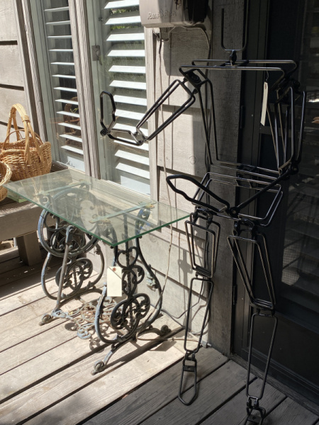 Vintage Sewing Machine Base/Glass Top Table