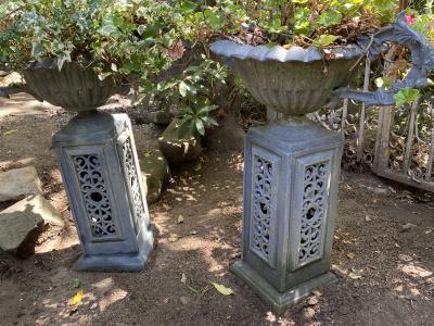 Vintage Decorative Metal Urns/Planters on Bases
