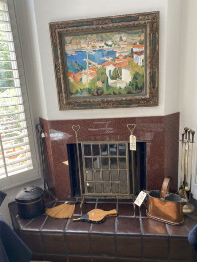 Vintage Glass/Brass Fireplace Screen