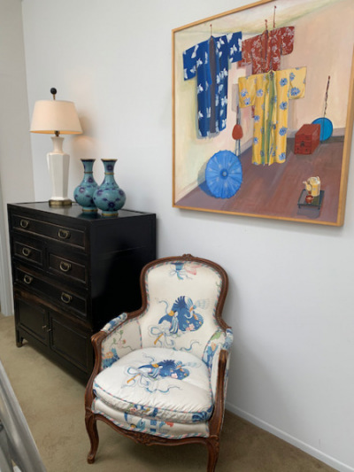 Upholstered Chintz Armchair