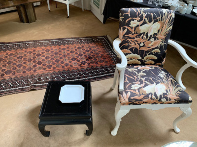 White Chair with Asian Print