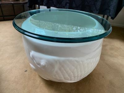 White Koi Pot Coffee Table