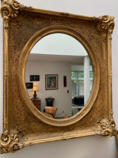 Large Gilt Frame Oval Mirror