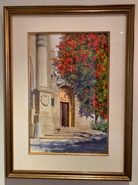 """Watercolor by Ray Hunter """"Santa Barbara Couthouse"""""""