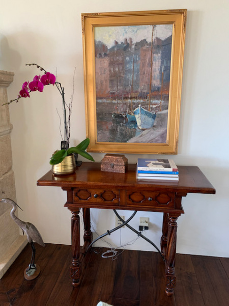 """Two-Drawer Wood Console ~ Oil by Brent Jensen """"Sailboats"""""""
