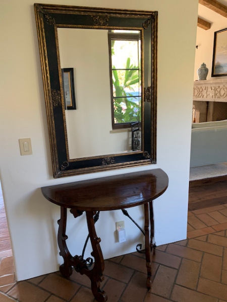 Demi-lune Table ~ Black and Gilt Frame Mirror