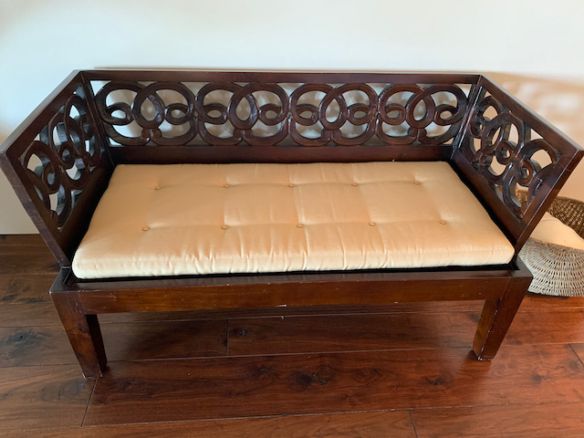 Carved Openwork Wood Bench
