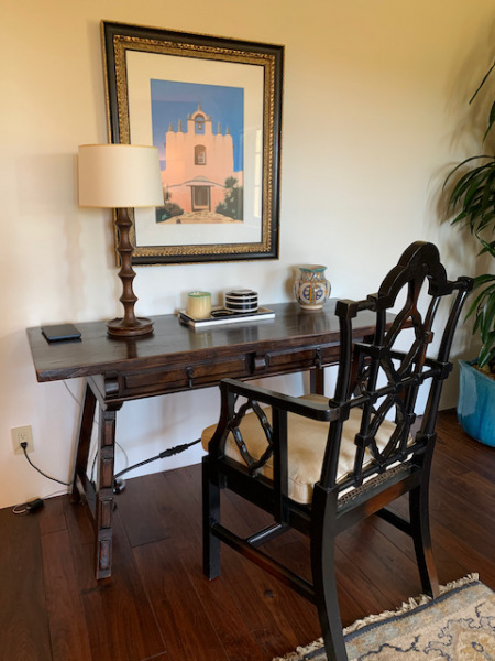 Wood Console/Desk with Metal Stretcher