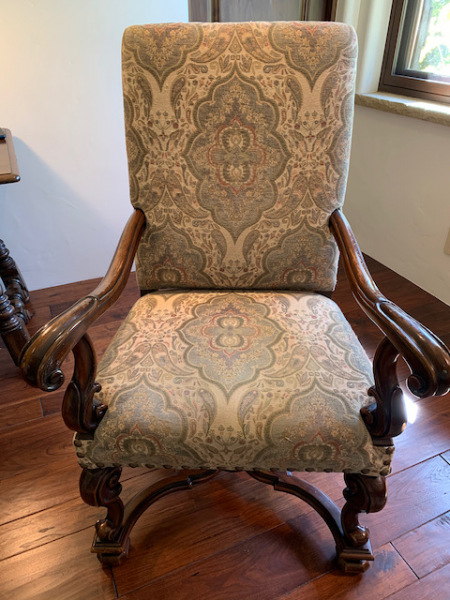 Wood Frame Upholstered Arm Chair