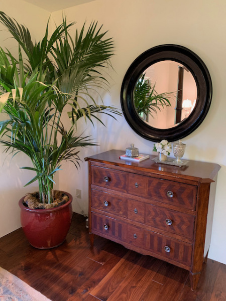 Three Drawer Chest  ~ Round Black Carved Mirror