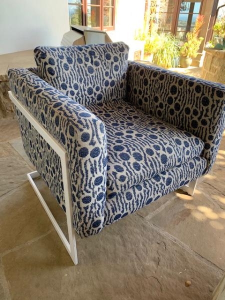 Modern Blue and White Print Chair