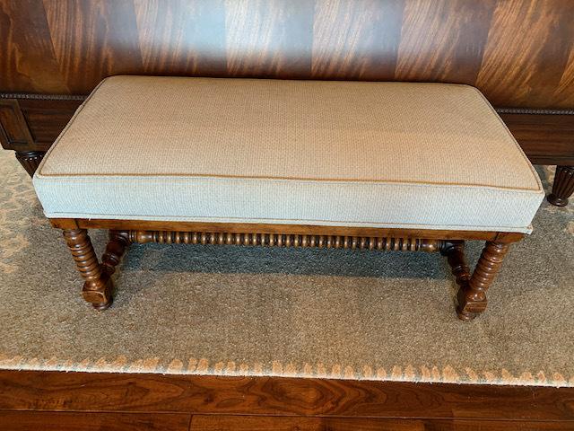 Upholstered Turned Leg Bench