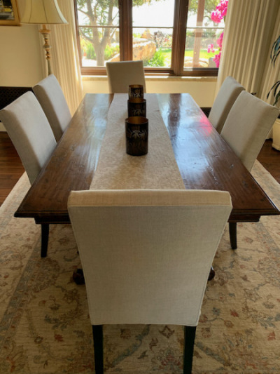 Inlaid Wood Dining Table ~ R.H Dining Chairs