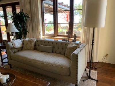 Linen Twill Tufted Back Sofa