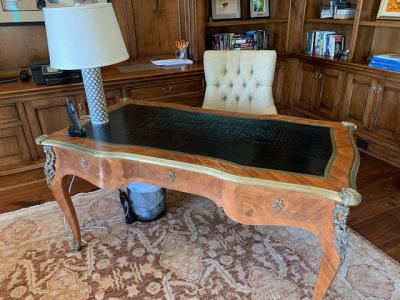French Ormolu Leather Top Desk Louis XV