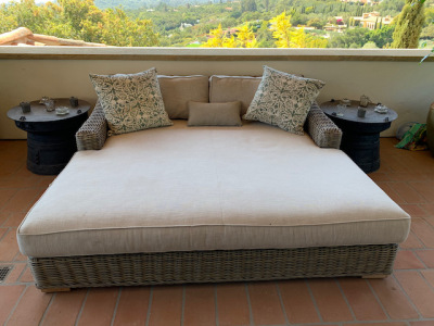 Double Size Wicker Patio Chaise