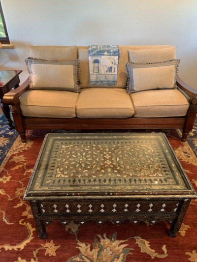 Plantaion Style Sofa ~ Moroccan Style Coffee Table