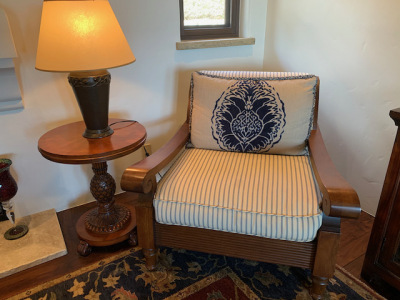 """Plantation Oversized Arm Chair ~ """"Pineapple"""" Pedestal Side Table"""