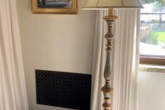 Green and Gilt Wood Floor Lamp