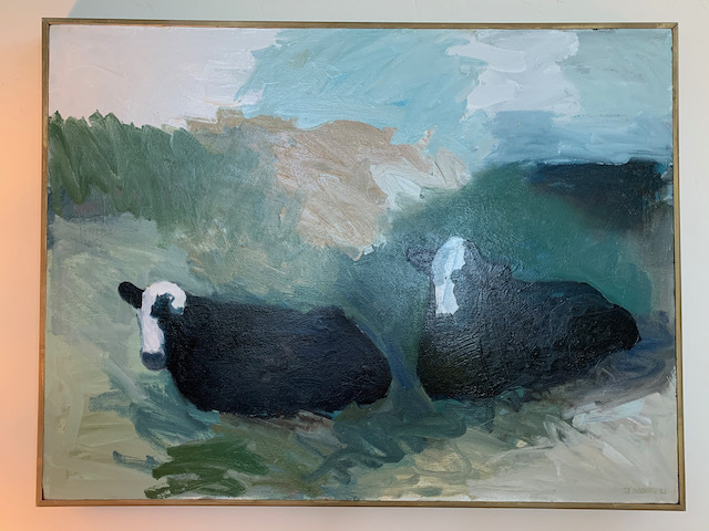 """Oil by Theodore Waddell """"Cows in Pasture"""""""