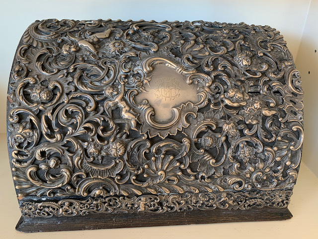 Victorian Sterling Mounted Leather Letter Box Late 19 c.