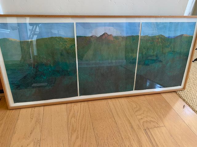 """Gouache by Paul Wonner """"Landscape tith Rock"""""""