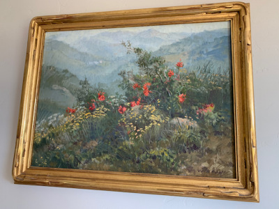 "Oil by Meredith Brooks Abbott ""Poppies and Protea in the Garden"""