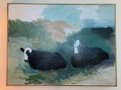 "Oil by Theodore Waddell ""Cows in Pasture"""