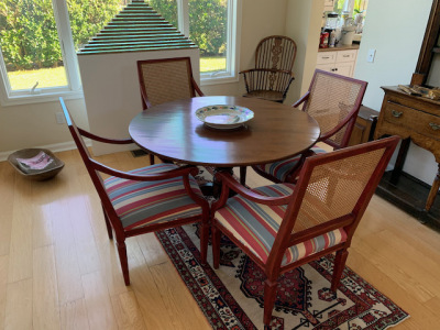 Pedestal Dining Table, J. Hall ~ Cane Upholstered Dining Chairs