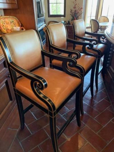 Set of 4 Regency Style wood frame bar chairs with leather upholstry