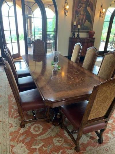 Inlaid Dining Table and 12 Chairs