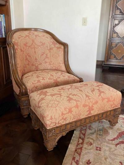 Carved Wood Frame and Upholstered Chair with Ottoman