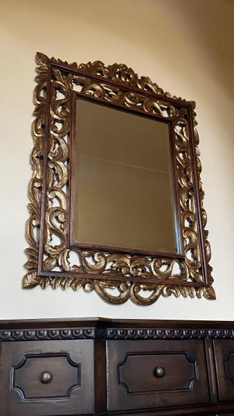 "Carved Giltwood Mirror ""Cameroon"" by Embellishments"