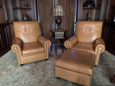 Pair of Vintage Leather Lounge Chairs (matching ottoman)