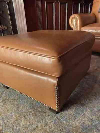 Vintage Leather ottoman, Reborn Antiques