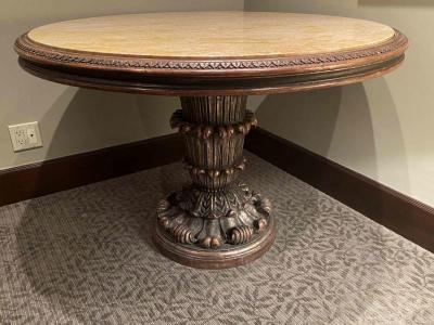 Marble top carved pedestal base table