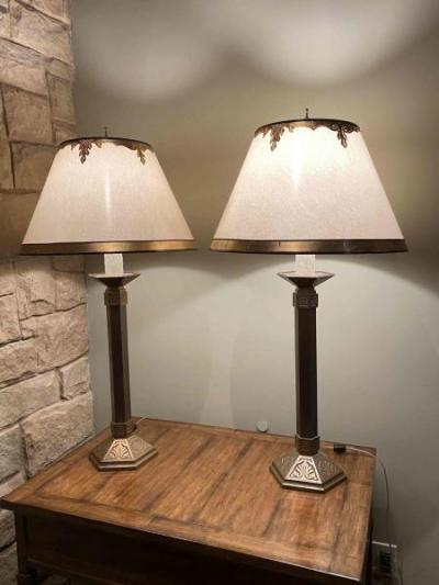 Pair of bronze table lamps with parchment shades