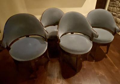Dessin Fournir Lemont Lugano,  mohair upholstered chairs mahogany frames (4)