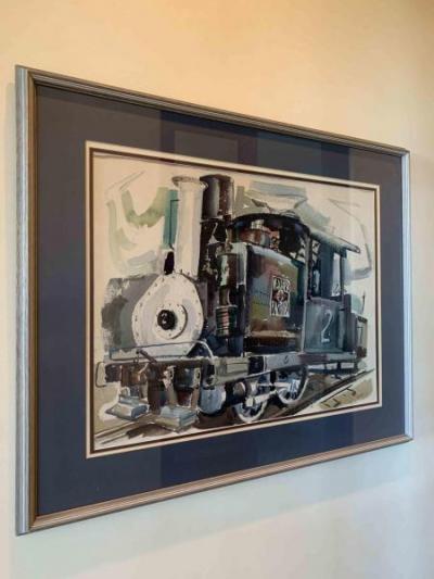 original vintage watercolor painting of Train Engine