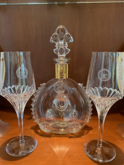 Louis XIII Baccarat decanter and glasses