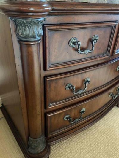 Pair of marble top nightstands by Drexel (detail)