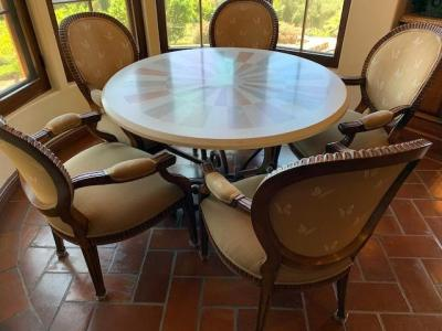 Marble Inlaid Dining table and 5 chairs