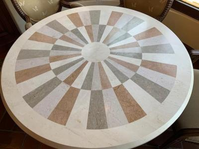 Marble Inlaid Dining table top detail