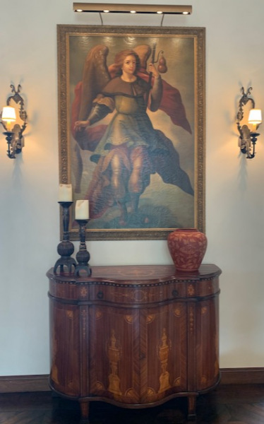 St. Raphael Angel painting and cabinet